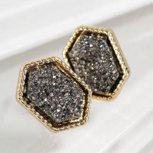 Lovely Hematite Grey Druzy Gold Trim Earrings NEW